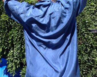 80s blue silk shirt