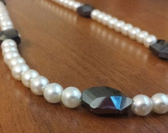 Glass Pearl Necklace with Gray/Blue Bead Accent