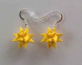 Moravian Star Earrings—Daffodil