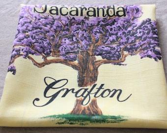 Vintage Table Cloth Grafton NSW Jacaranda Australiana Australian Linen Kitchen Tablecloth Floral