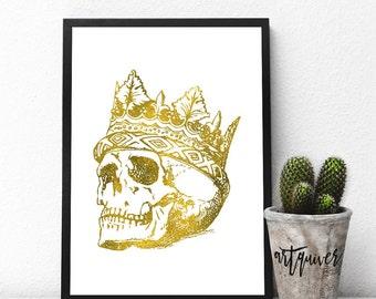 Skull wearing a crown, Skull art, Skull Designs, Poster, Trendy Wall Designs, Large Wall Art, Trendy-art, Framed art, framed prints