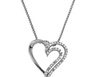 Diamond Heart Pendant Necklace in 14k White Gold (17 Inches)