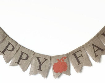 Happy Fall Burlap Banner, Thanksgiving Banner, Happy Fall Banner, Fall Banner, Happy Fall Sign, Thanksgiving Sign, Thanksgiving Decorations