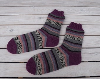 Hand knitted women socks Colorful striped boot socks Multicolored wool socks Warm accessories Gift for her