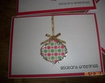 Handmade Christmas Card Gold ornament
