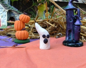 Fairy Garden Halloween Witches Castle Set of 3 (Including Pumpkin Tower & Ghost);Miniature Halloween Decor;Fairy Garden Halloween