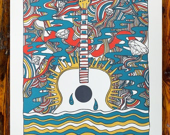 Psychedelic Guitar Screen Printed Art Print