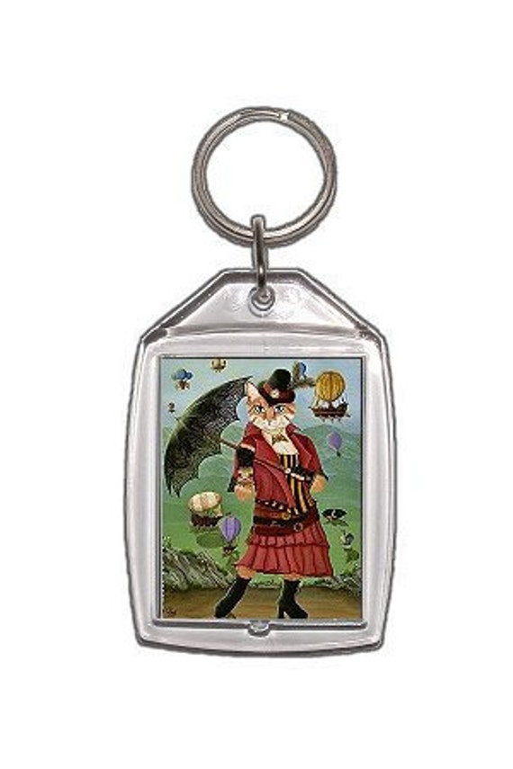 Steampunk Cat Keychain Victorian Airships Fantasy Cat Art Keychain Keyring Gifts For Cat Lovers