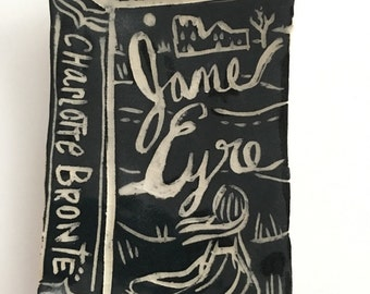Ceramic Jane Eyre by Charlotte Brontë ... Small Stoneware Book Plate/Dish ... one of a kind