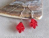 Czech Pressed Glass Red Flower Earrings