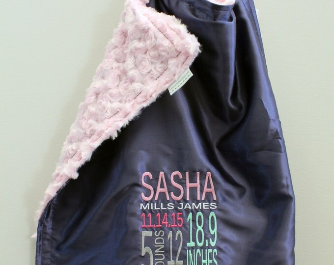Personalized Little Fluffy Blanket - minky faux fur satin birth stats name embroidery newborn gift photo prop  lovie lovey monogram