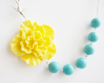 Turquoise Necklace,Turquoise Jewelry,Yellow Flower Necklace,Yellow Necklace,Bridesmaid Jewelry Set,Bridesmaid Gift,Beaded Necklace,Gift Her
