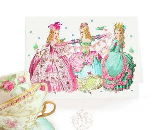 Marie Antoinette happy birthday card, pink for girls, blank inside