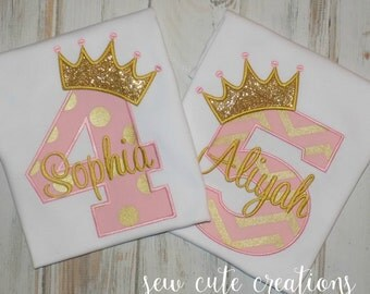 Princess Birthday shirt, Princess shirt, Crown Birthday shirt, Pink Gold Shirt, Girl Birthday shirt, Princess outfit, sew cute creations