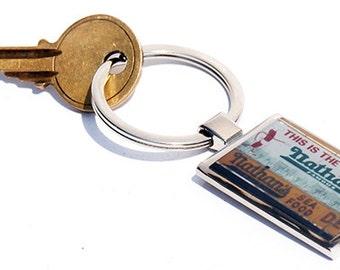 Key Chain- Keychain- Key Fob- Key Ring- Key Holder- Nathans Key chain - Teacher Gift- Gift for Him- Hot Dog- Brooklyn-  Coney Island