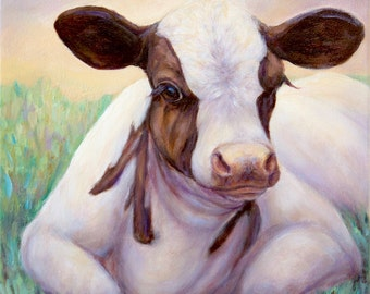 "SOLD-Original Cow Oil Painting on canvas- ""Spring Calf"""