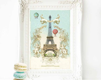 Eiffel Tower French art print, vintage home decor, Paris in winter with hot air balloons, A4 giclee