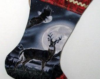 OOAK Deer & American Eagle Christmas Stocking Nature Lover Gift Deer and Eagle
