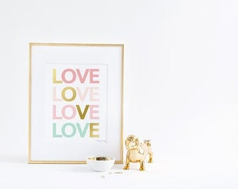 Love Art, Pink Gold Love Print Digital Printable Instant Download Wall Artwork Home Nursery Decor Typography Poster Anniversary Gift Heart