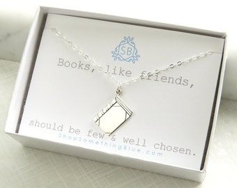 Best Friend Gift • Book Lover Gift • Book Necklace • Tiny Book Pendant • Mini Book • Novel Writer • Librarian • Book Club • Tiny Book Charm