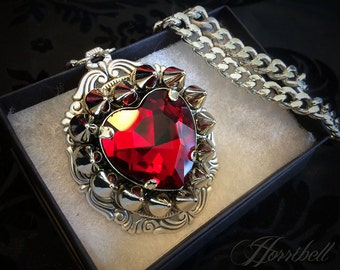 Spiked RED Heart Necklace // Spike Necklace // Heart Pendant // Crystal Heart // Gothic Necklace // Punk Necklace // Crystal Necklace