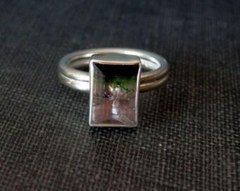 Watermelon tourmaline ring / pink and green tourmaline ring / October birthstone / bicolor tourmaline ring / tourmaline jewelry / engagement