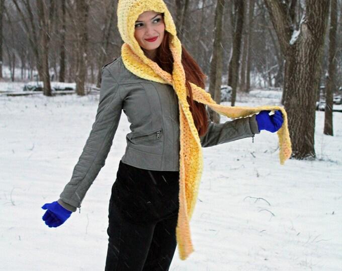 Yellow Hooded Crochet Scarf Handmade Gift