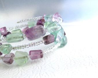 Rainbow Fluorite Bracelet, Stone Memory Wire Jewelry, Chunky Coil Bracelet