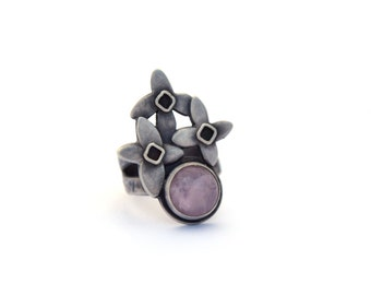 Lilac Ring, Sterling Silver and Rose Quartz Ring, Gemstone Jewelry, Oxidized Silver Flower Ring Size 7, Botanical Jewelry, Bohemian Ring