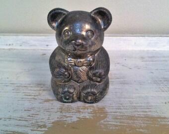 Silver Plated Teddy Bear Bank , Retro Teddy Bear Bank , Vintage Nursery Decor , Vintage Child's Bank Made In Japan