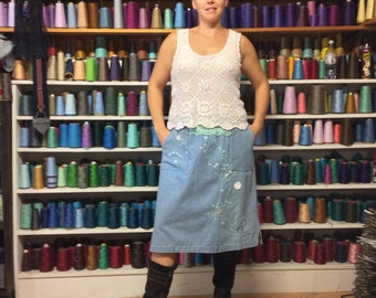 LG Crochet Blue Jean Dress with Pockets/Tank Dress/Denim Dress/Midi Dress/Jumper Dress/Embroidered/Upcycled Recycled Repurposed Clothing