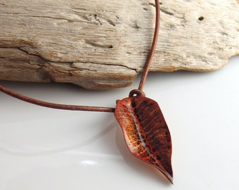 Rustic Leaf Choker, Copper Enamel Leaf Pendant, Bright Golden Brown Slide on Brown Cord, Original Nature Inspired Gift by WillOaks Studio