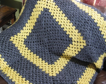 Blue Afghan, Yellow Throw, Yellow Afghan, Blue Throw, Blue Blanket, Crochet Afghan, Crochet Blanket, Gift For Her, Gift For Him