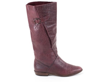 Burgundy Leather Flat Boots Knee High Buckle Size 6/6.5