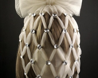 Ivory Tulle Oversized Cage Veil with Glass Rhinestones