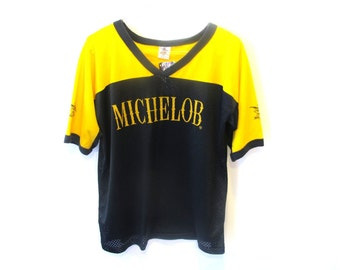 80s 90s MICHELOB Yellow & Black SS Jersey T-Shirt