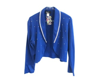 80s Emje Blue Silver Studded Bolero Jacket Top