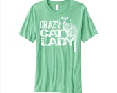 Cat Shirt, green yoga clothing, funny tees, Crazy Cat Lady, cat lover gift, unisex t shirt, loose fit, super soft, Girlfriend Gift, for her