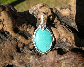 Genuine Turquoise and Sterling Silver Wire Wrapped Pendant ~Wire Wrapped Stone, Healing Stone Pendant, Hippie, Earthy, Handcrafted Pendant