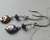 Pink Purple Blue Freshwater Coin Pearl Lepidolite and Sugilite Dangle Earrings