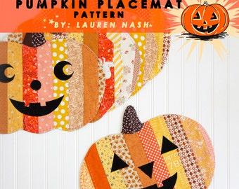 """PDF Sewing Pattern - """"Halloween Jack-o-Lantern Pumpkin"""" Placemats"""