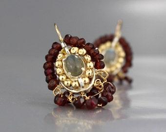 Unique Big Earrings, Garnet Labradorite Cherkes Earrings, Garnet Jewelry, Red Earring, January Birthstone, Gemstone Earrings, Women's Gift