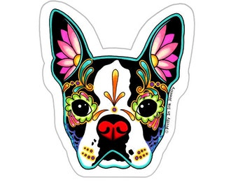 Boston Terrier Sticker - Day of the Dead Sugar Skull Dog - Clear Vinyl Decal