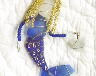 Sea Glass Mermaid Suncatcher Ornament with Cobalt Blue Sea Glass