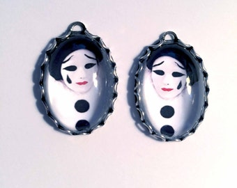 1 Pair PIERROT CLOWN PENDANT/Handmade Photo Charms-Clown Charms-Mime charms-Harlequin Charms-Circus Charms