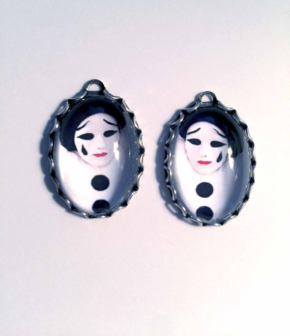 1 Pair PIERROT CLOWN PENDANT/Handmade Photo Charms-Clown Charms-Mime charms-Harlequin Charms-Circus Charms