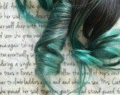 the E M E R A L D . Emerald from the CRYSTAL collection Remy hair extension accent clip in 100% human hair dark brown black mint green