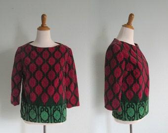 Vintage Glam Pink and Green Printed Velvet Top - 60s Italian Velvet Blouse - Vintage 1960s Velvet Top S M