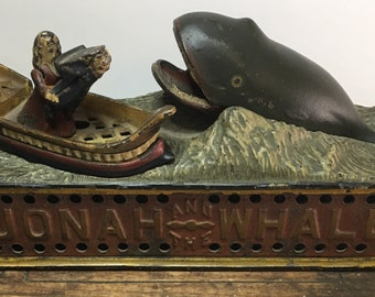 """Bank, Mechanical Coin Bank, Antique Cast Iron Bank, Collectible """"Jonah and the Whale"""" Original Bank, 1890"""