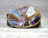 Belt Buckle in Purples - Oval Buckle with Amethyst, Agate, Rhinestones, and Gold Coral Branch